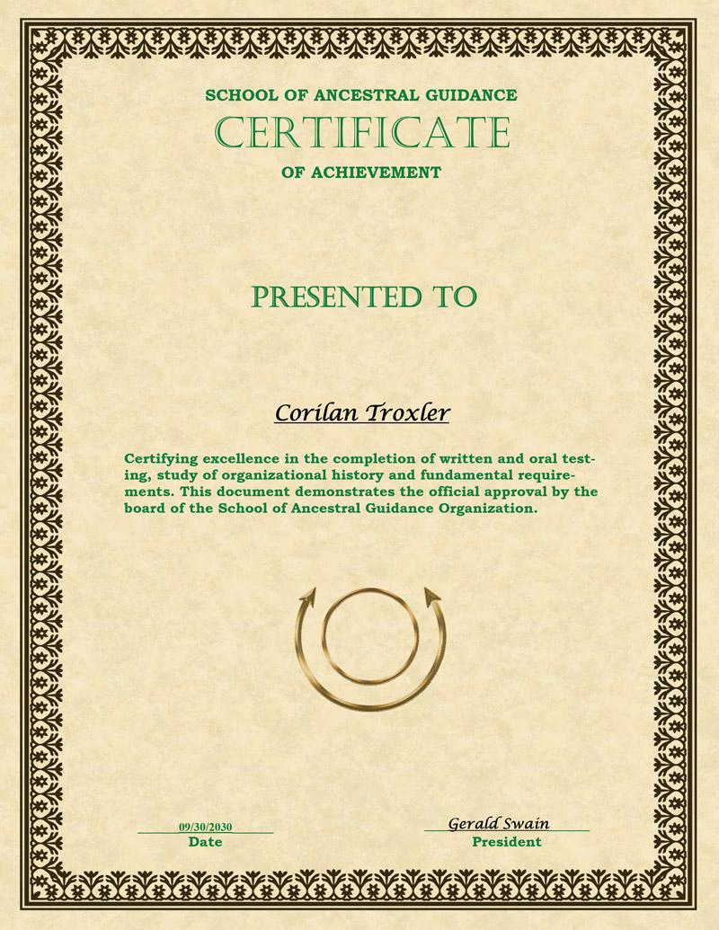 SAG Certificate